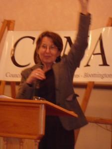 Cynthia accepting Carrol Krause Annual Award